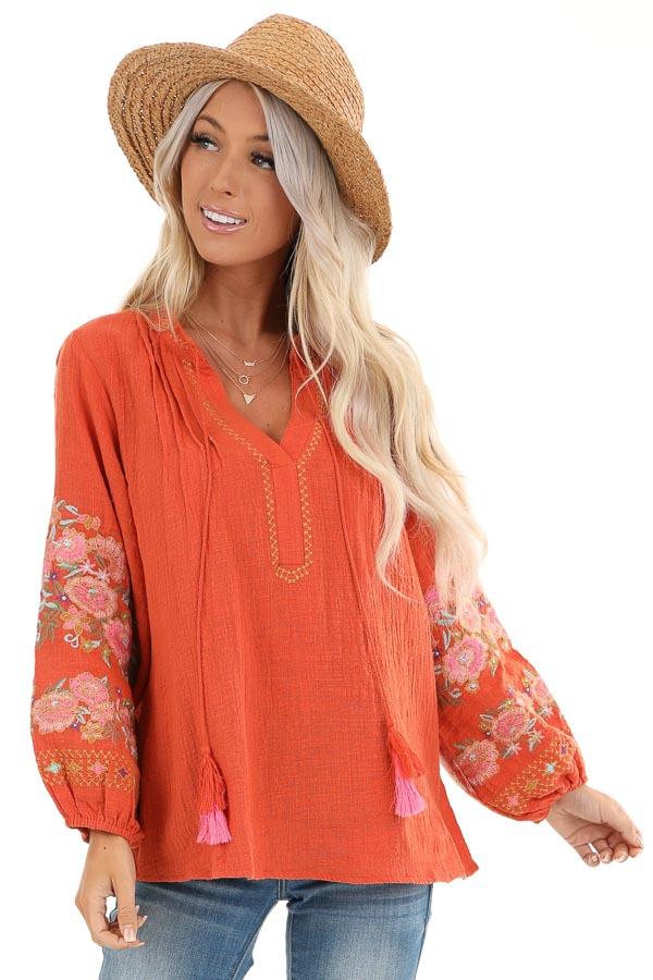 Carrot Long Sleeve Peasant Top with Embroidered Details front close up