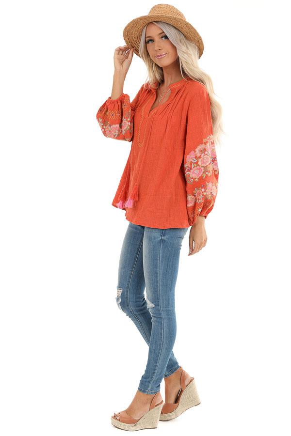 Carrot Long Sleeve Peasant Top with Embroidered Details side full body