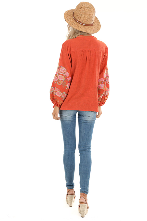Carrot Long Sleeve Peasant Top with Embroidered Details back full body