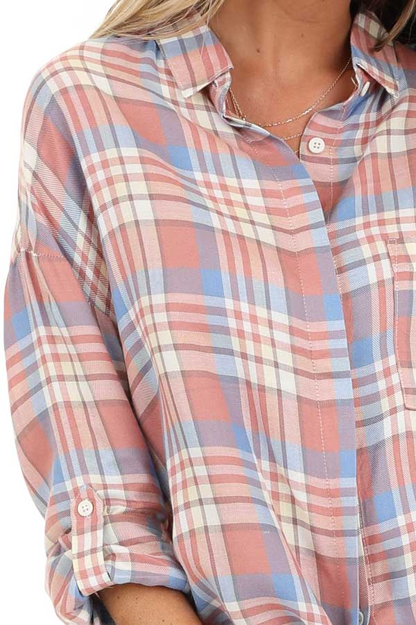 Salmon and Baby Blue Plaid Woven Button Down Top detail