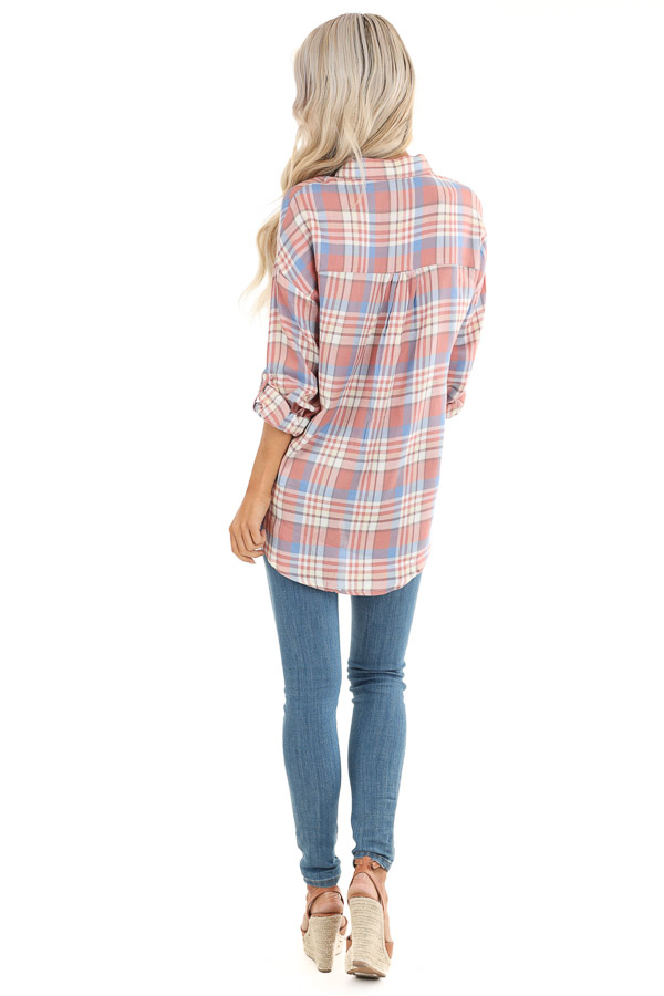 Salmon and Baby Blue Plaid Woven Button Down Top back full body