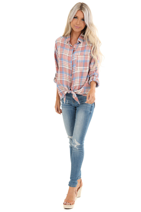 Salmon and Baby Blue Plaid Woven Button Down Top front full body