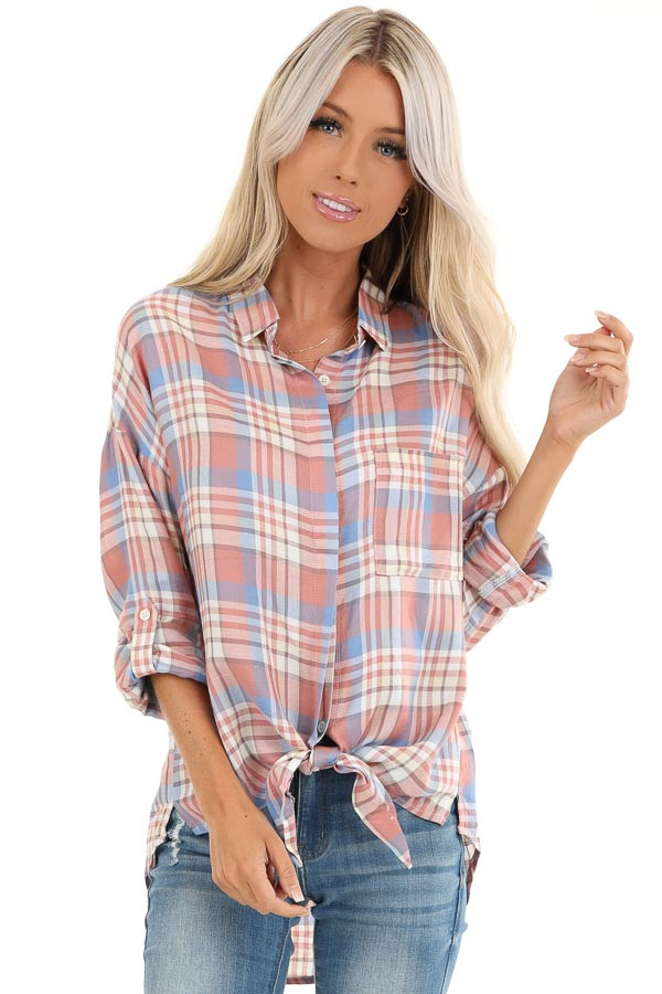 Salmon and Baby Blue Plaid Woven Button Down Top front close up
