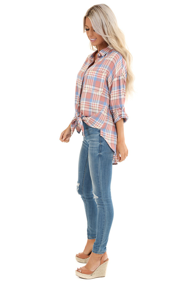 Salmon and Baby Blue Plaid Woven Button Down Top side full body