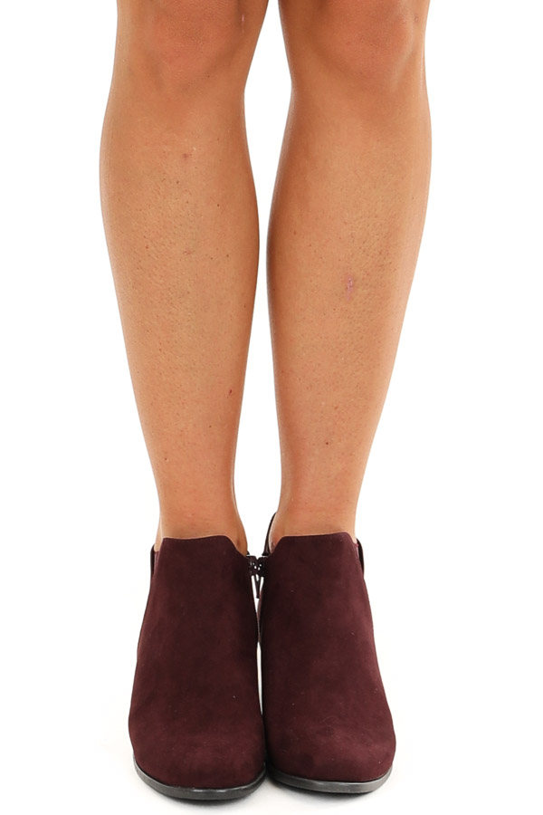 Wine Faux Suede Heeled Bootie with Zipper front view