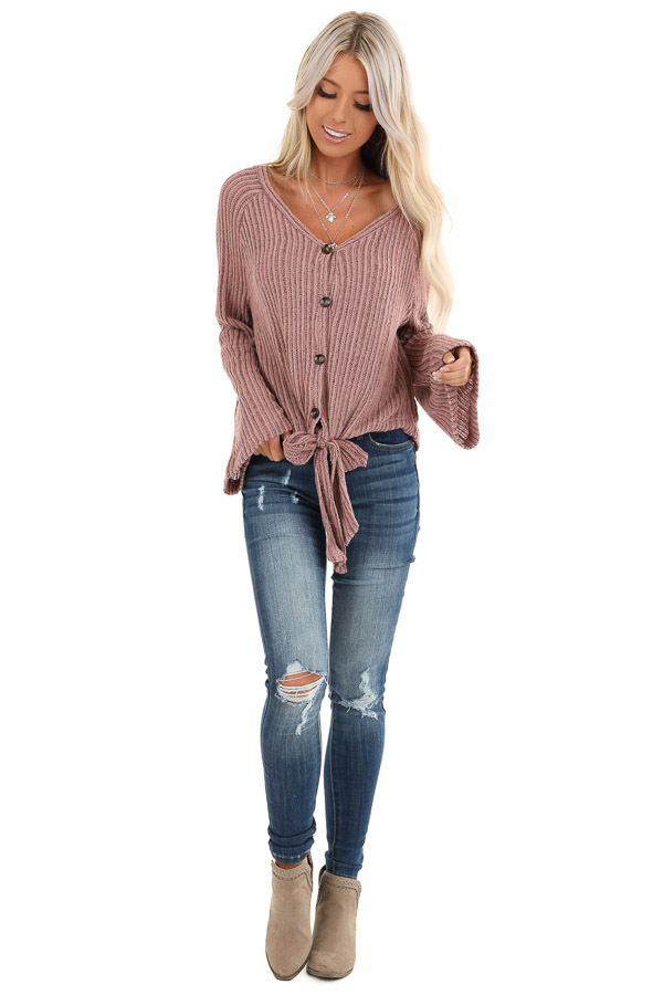 Mauve Knit Button Up V Neck Top with Front Tie front full body