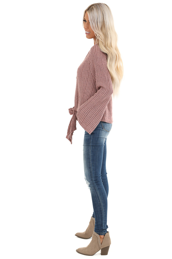 Mauve Knit Button Up V Neck Top with Front Tie side full body