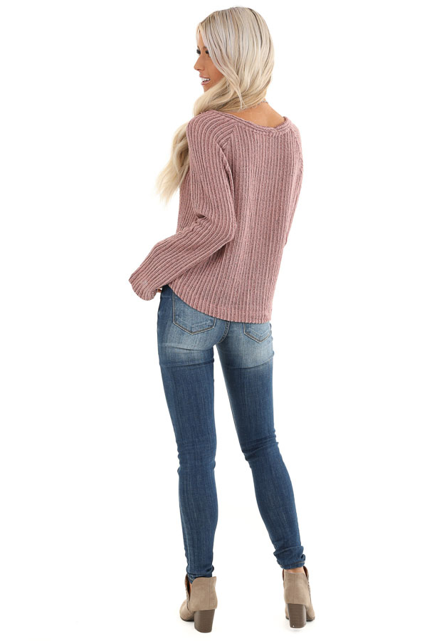 Mauve Knit Button Up V Neck Top with Front Tie back full body