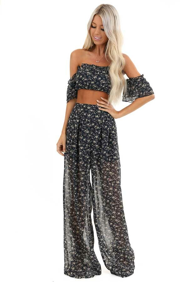 Navy Floral Print Off Shoulder Top and Pants Two Piece Set front full body