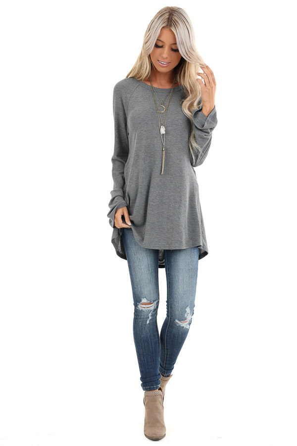 Charcoal Long Sleeve Top with Drape Back and Strap Details front full body