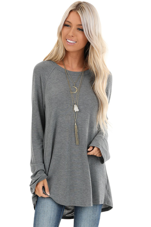 Charcoal Long Sleeve Top with Drape Back and Strap Details front close up