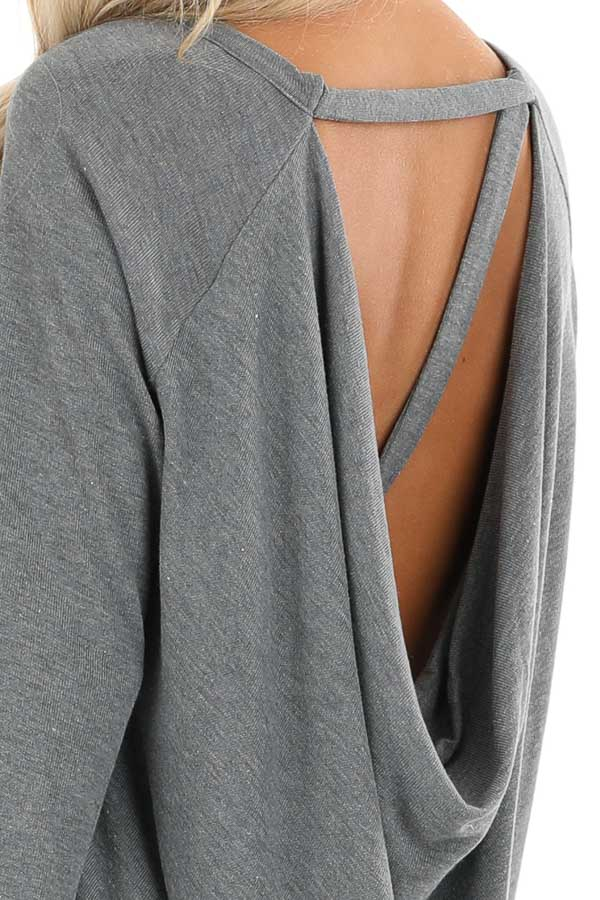 Charcoal Long Sleeve Top with Drape Back and Strap Details detail