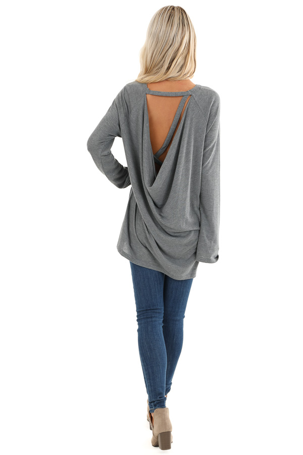 Charcoal Long Sleeve Top with Drape Back and Strap Details back full body