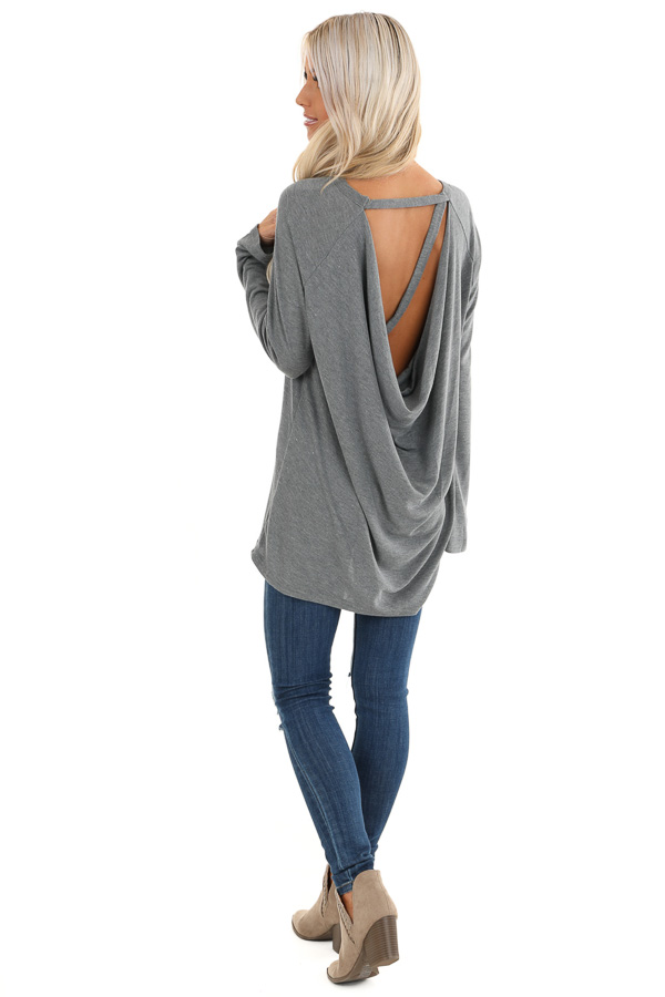 Charcoal Long Sleeve Top with Drape Back and Strap Details back side full body