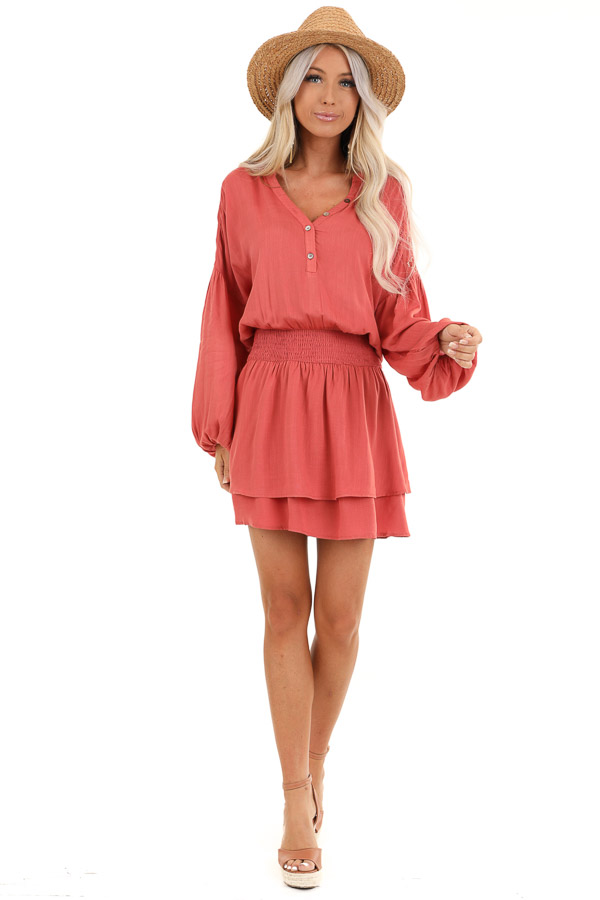 Burnt Orange Long Sleeve Mini Dress with Embroidery Details front full body