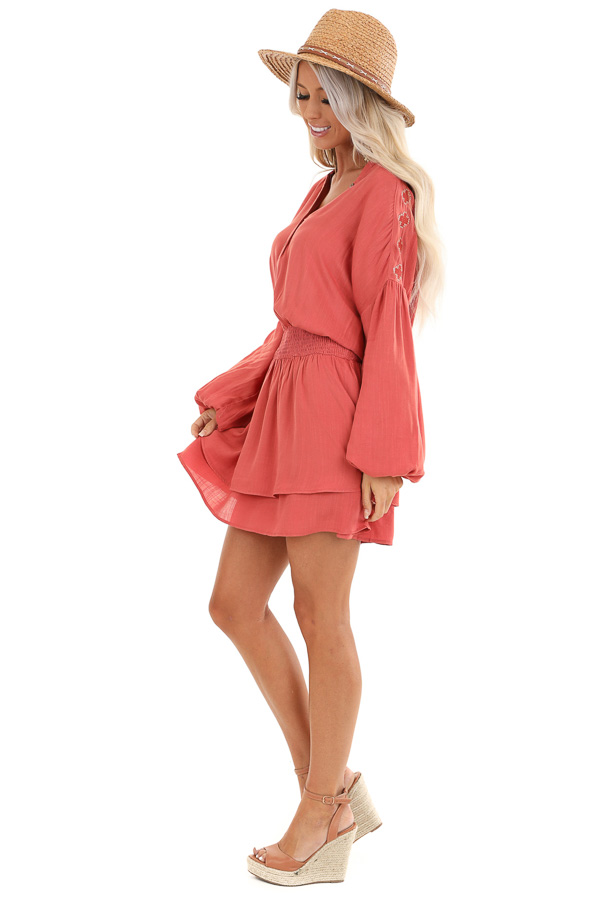 Burnt Orange Long Sleeve Mini Dress with Embroidery Details side full body