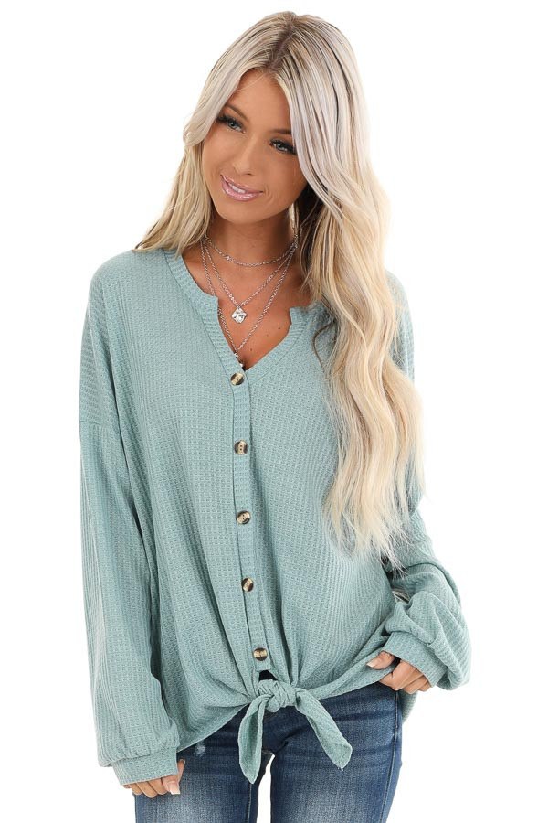 Dusty Blue Button Up Waffle Knit Top with Front Tie front close up