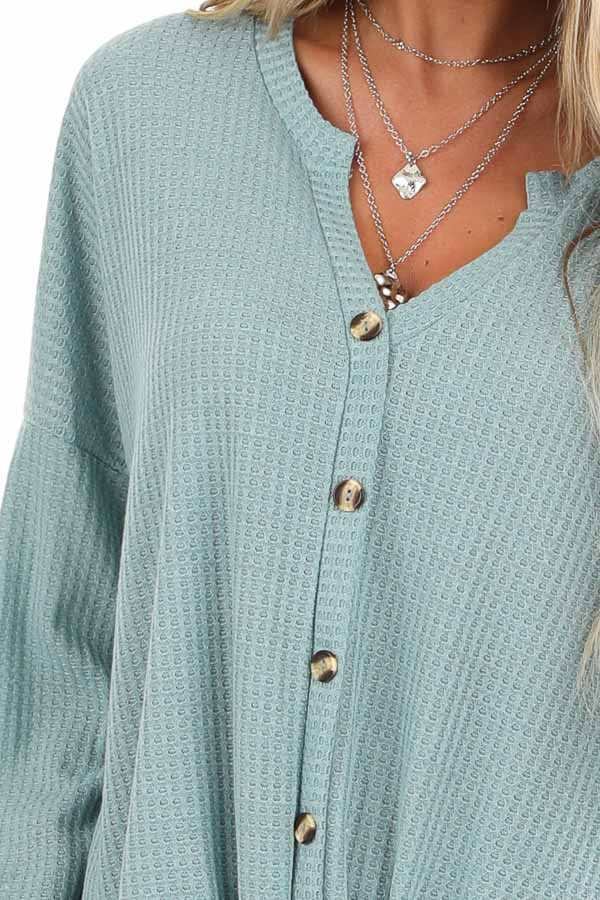 Dusty Blue Button Up Waffle Knit Top with Front Tie detail