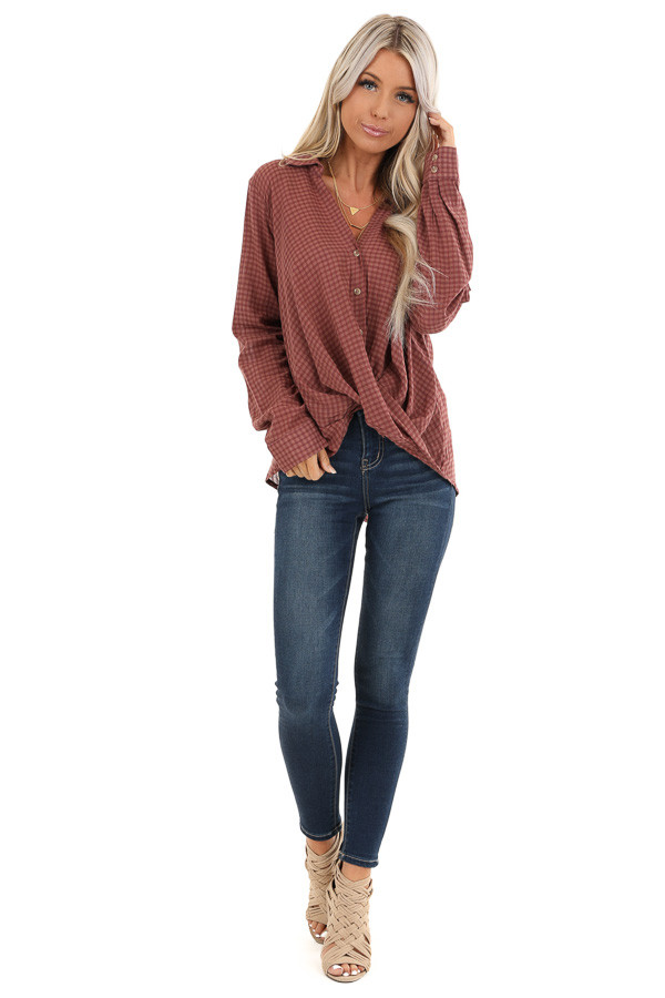 Redwood Plaid Long Sleeve V Neck Button Up Top front full body