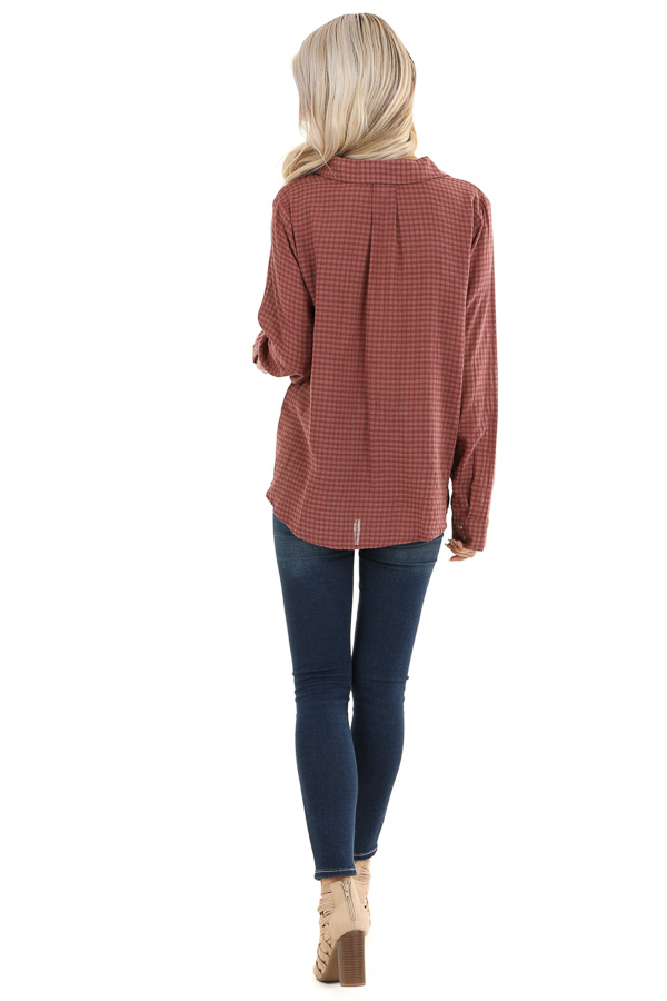 Redwood Plaid Long Sleeve V Neck Button Up Top back full body