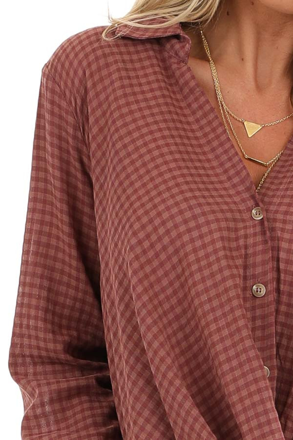 Redwood Plaid Long Sleeve V Neck Button Up Top detail