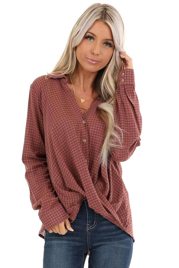 Redwood Plaid Long Sleeve V Neck Button Up Top front close up