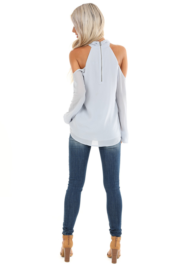 Powder Blue Chiffon Cold Shoulder Long Sleeve Halter Top back full body