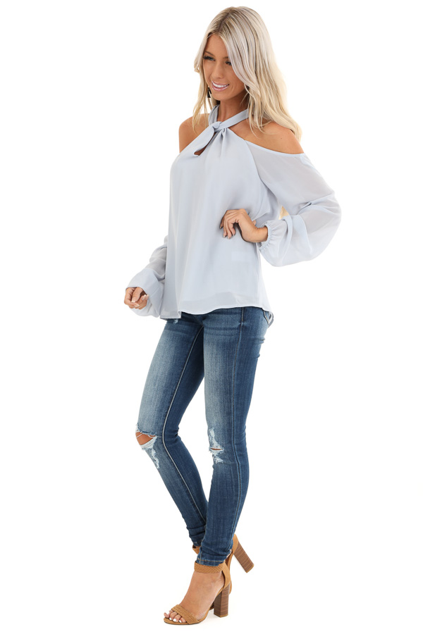 Powder Blue Chiffon Cold Shoulder Long Sleeve Halter Top side full body