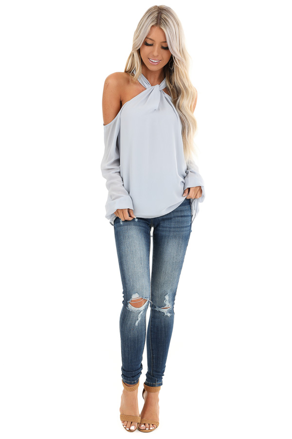Powder Blue Chiffon Cold Shoulder Long Sleeve Halter Top front full body