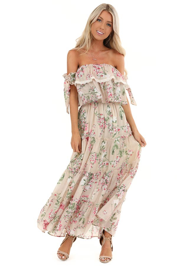 Oatmeal Floral Print Off Shoulder Maxi Dress with Ruffles front full body