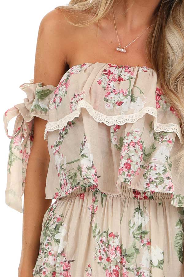 Oatmeal Floral Print Off Shoulder Maxi Dress with Ruffles detail