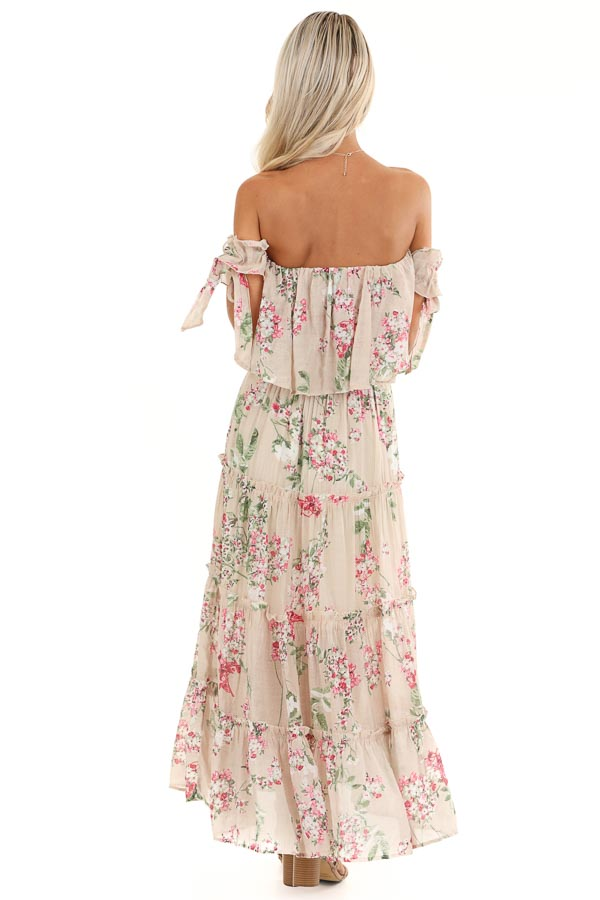 Oatmeal Floral Print Off Shoulder Maxi Dress with Ruffles back full body