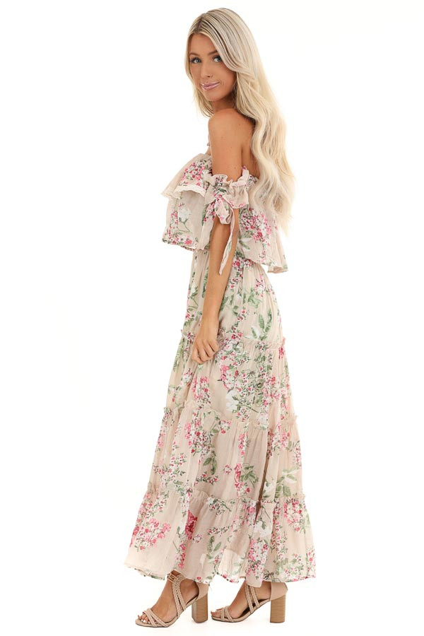 Oatmeal Floral Print Off Shoulder Maxi Dress with Ruffles side full body