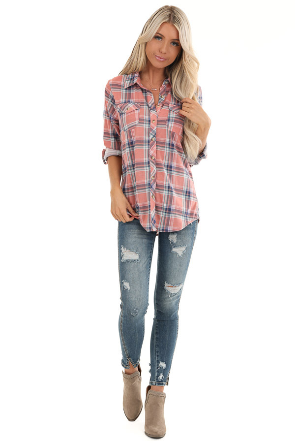 Rose Pink Plaid Button Up Top with Chest Pockets front full body