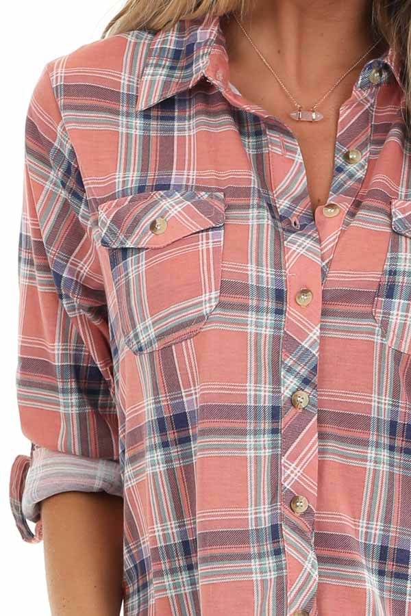 Rose Pink Plaid Button Up Top with Chest Pockets detail