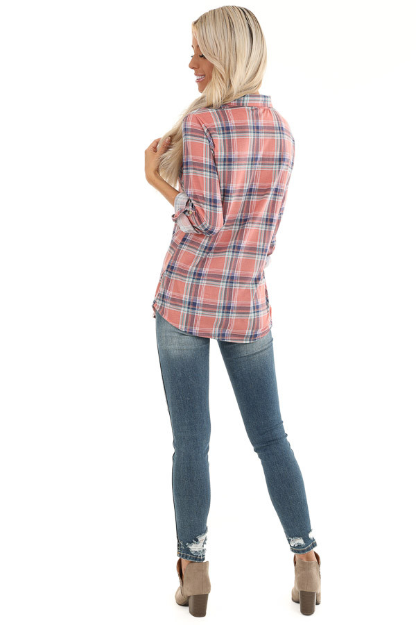 Rose Pink Plaid Button Up Top with Chest Pockets back full body