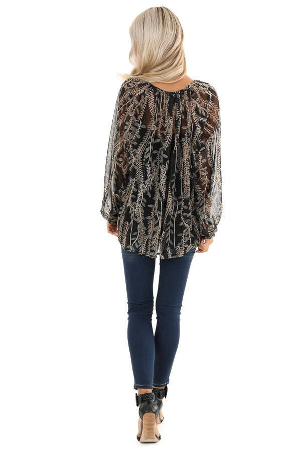 Midnight Black and Taupe Sheer Leaf Print Peasant Top back full body