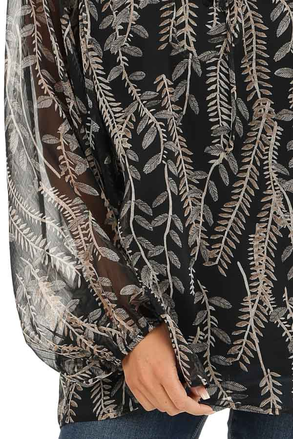 Midnight Black and Taupe Sheer Leaf Print Peasant Top detail