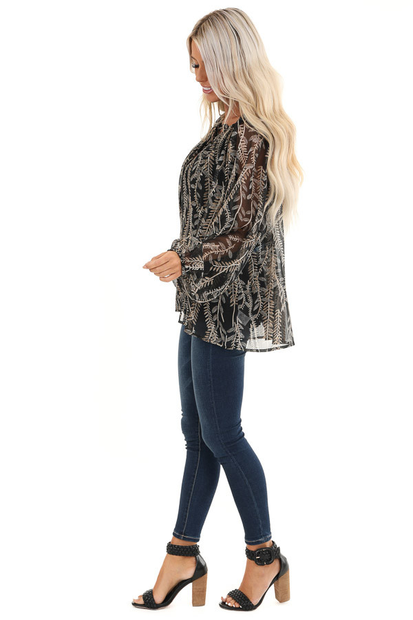Midnight Black and Taupe Sheer Leaf Print Peasant Top side full body