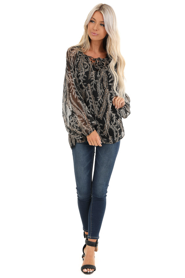 Midnight Black and Taupe Sheer Leaf Print Peasant Top front full body