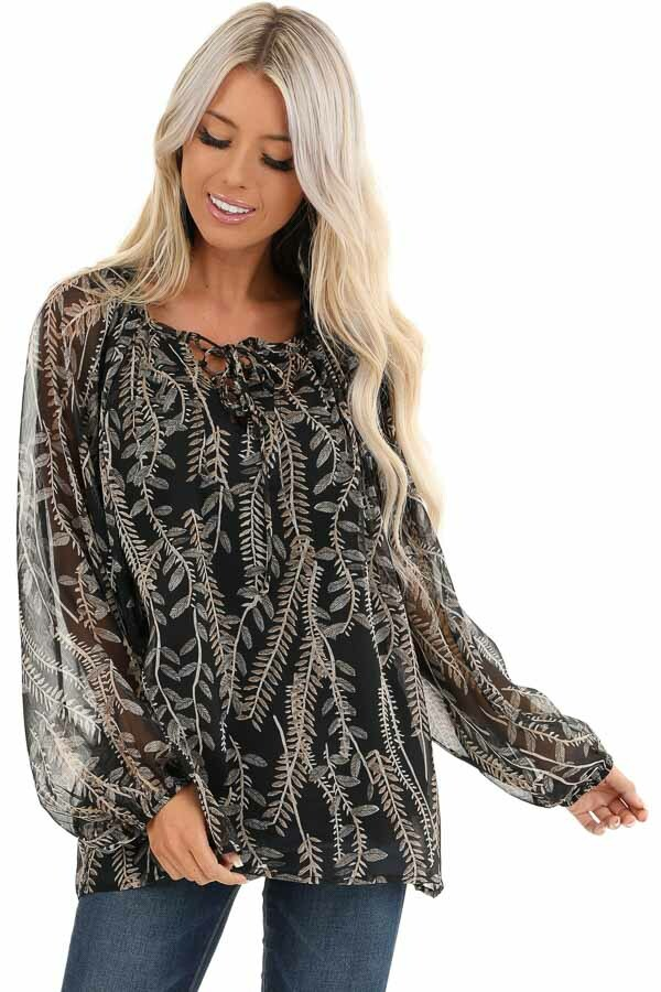 Midnight Black and Taupe Sheer Leaf Print Peasant Top front close up