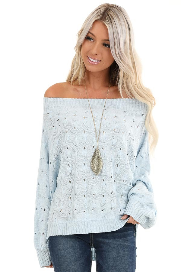 Baby Blue Off Shoulder Sweater with Cutout Details front close up
