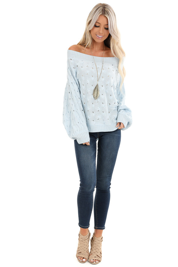 Baby Blue Off Shoulder Sweater with Cutout Details front full body