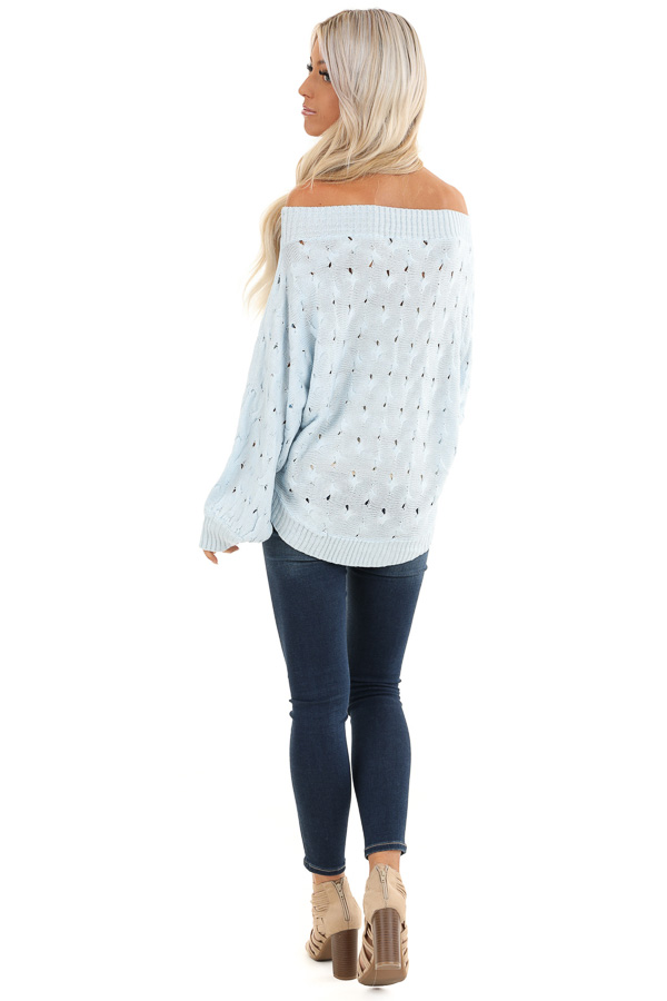 Baby Blue Off Shoulder Sweater with Cutout Details back full body