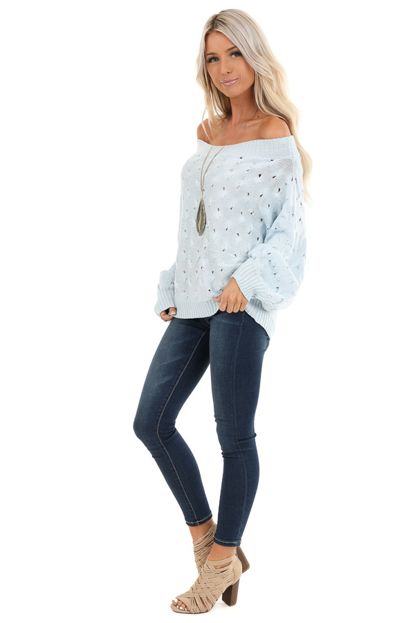 Baby Blue Off Shoulder Sweater with Cutout Details side full body