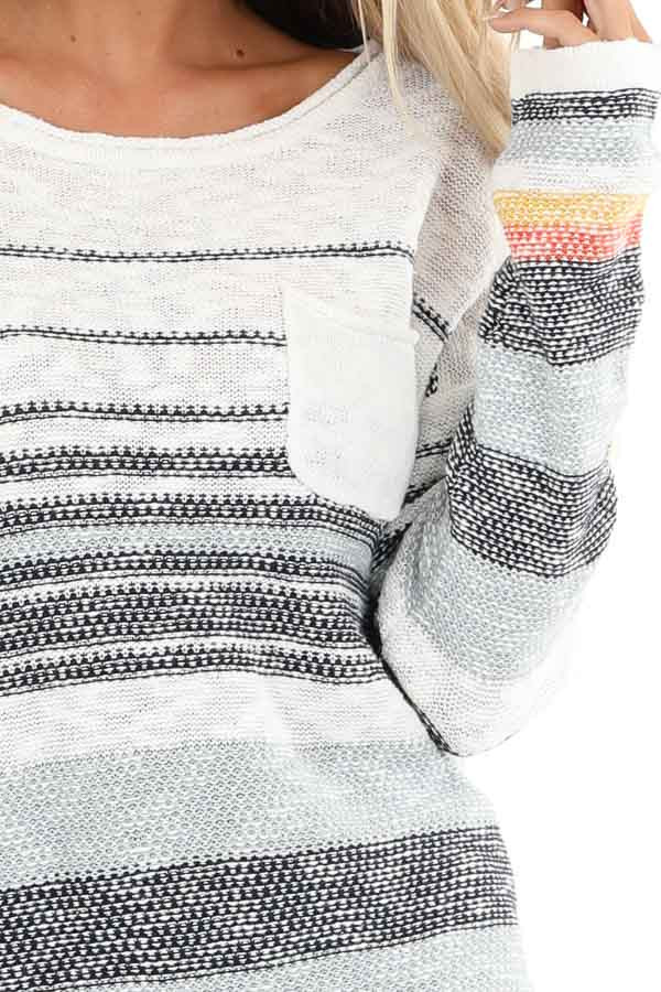 Pearl and Ocean Striped Long Sleeve Pullover Sweater detail