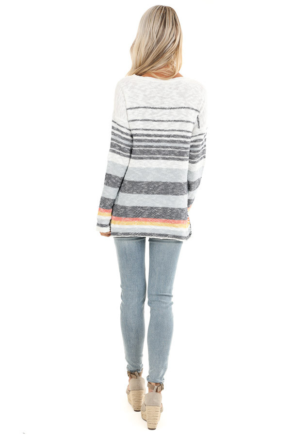 Pearl and Ocean Striped Long Sleeve Pullover Sweater back full body