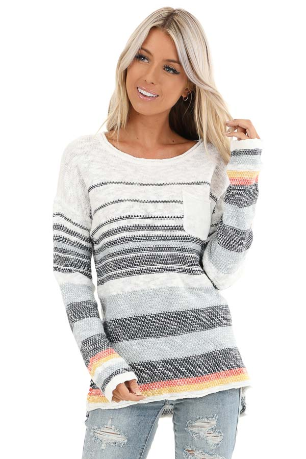 Pearl and Ocean Striped Long Sleeve Pullover Sweater front close up