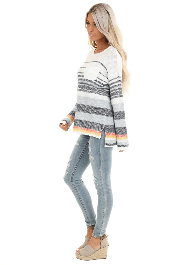 Pearl and Ocean Striped Long Sleeve Pullover Sweater side full body