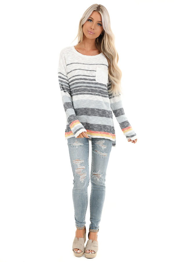 Pearl and Ocean Striped Long Sleeve Pullover Sweater front full body